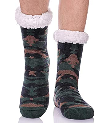 Mens Fuzzy Slipper Socks Animal Thick Cosy Warm Soft Fleece lined Thermal Winter Non Slip Home Socks