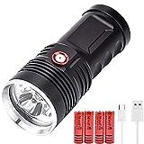 Linterna LED Antorcha Recargable, Super Brillante 3 * XHP50 LED 8000 Lúmenes Linterna Táctica de Mano, 3 Modos Impermeable para Camping, Senderismo, Emergencia (Incluidas 4 * 18650 Baterías)