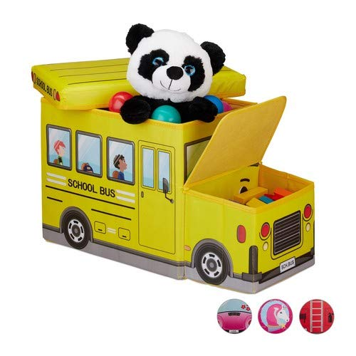 Relaxdays Sitzbox Kinder, Staubox mit Deckel, Spielzeug, faltbar, Schulbus, Stauraum, Jungen & Mädchen, 50 Liter, gelb