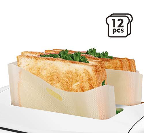Anstore 12 Stück Antihaft-Toasterbeutel wiederverwendbar glutenfrei PFOA-frei von der FDA zugelassen Toastabags für Gebäck Pizzastücke gegrillte Käsesandwiches Chicken Nuggets & Toast