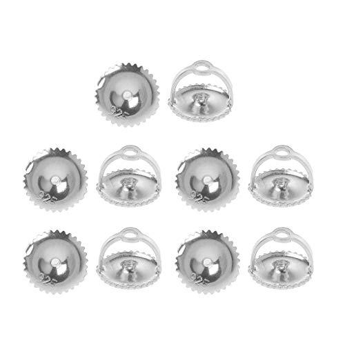 SKYVII 5 pares de piezas de repuesto para pendientes de tuerca de plata con cierre seguro