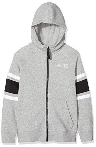 Nike Kinder Hoodie Air Full Zip, Dk Grey Heather/Black/White/Wh, XS, BV3590
