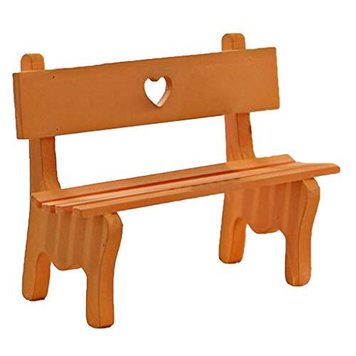 Lobounny - Mini sedia da giardino in legno, modello di panchina per bambole, decorazione per la casa delle bambole
