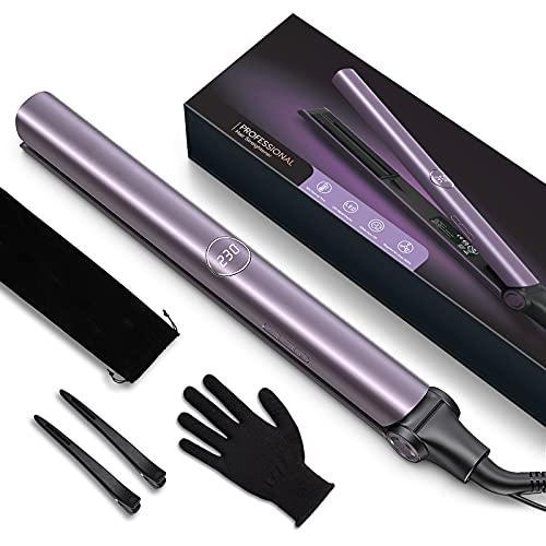 Plancha de Pelo Profesional, plancha de Pelo Iónico con Placa de Titanio, Plancha y Rizador 2 en 1 con Dual Voltaje y Ajustable Temperatura, Púrpura