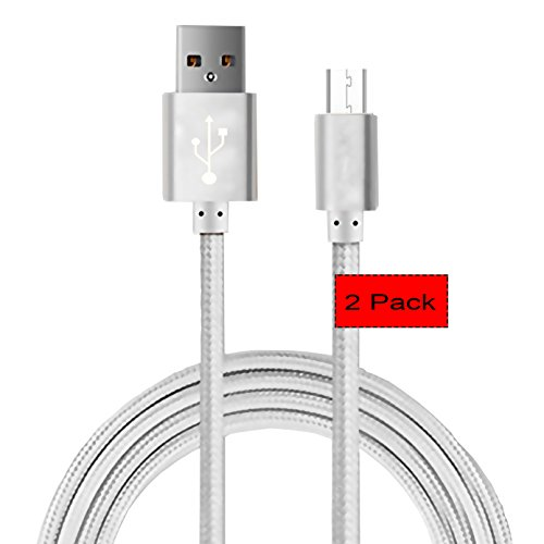 [2pack] 5 Ft Replacement Micro USB Cable,CaseHQ Powerline USB Cord for Amazon Kindle, Kindle Touch, Kindle Fire, Kindle Keyboard, Kindle DX, HD, HDX,8.9', Kindle Paperwhite,Voyage,Echo Dot.etc-Silver