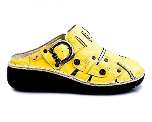 TMA 8890 Damen Sandaletten Leder gelb - EUR 40
