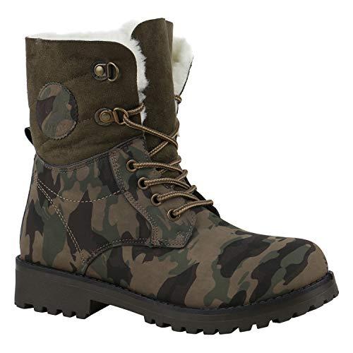 Warm Gefütterte Damen Stiefeletten Worker Boots Kunstfell Schuhe Camouflage Prints 39 Flandell