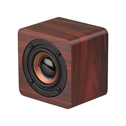 KJCHEN. Altavoz Coche de Madera Heavy Low Voice Mini Bluetooth Audio Multifunción Multifunción High Sound Calidad (Color : Brown)
