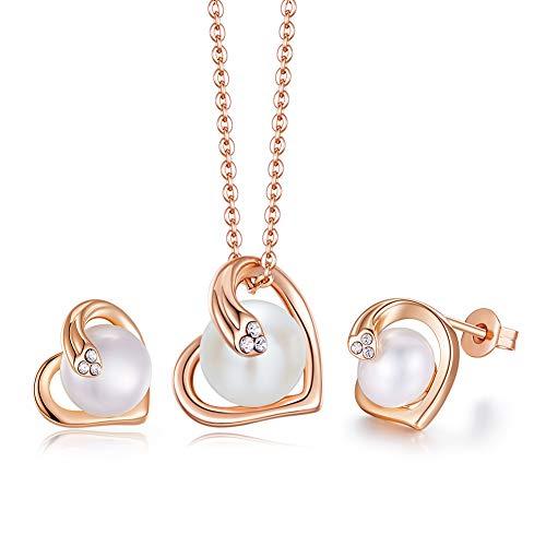 PHENIOTACE Conjunto de Joyas Mujer de Corazón de Perlas de Agua Dulce...