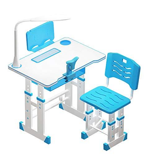 TTLIFE Juego de sillas de Escritorio para niños de 70 cm Escritorio y Silla de Estudio para niños de Altura Ajustable con lámpara LED Estante para Libros Escritorio Tradicional para la Escuela (Azul)