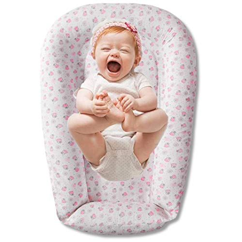Baby Nest Lounger, Premium Co Sleeper for Baby, 100% Cotton, Soft and Breathable Polyfill Newborn Lounger, Ideal Newborn Shower Gift for Co Sleeping and Travelling, Pink Grey Animals