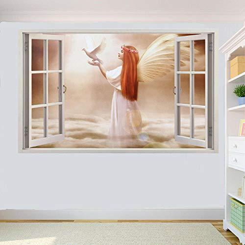 YJYG Wandtattoos ANGEL WINGS PIGEON ON CLOUDS 3D WINDOW WALL STICKER RAUM DEKORATION AUFKLEBER MURAL Halloween gift-60 x 90 cm