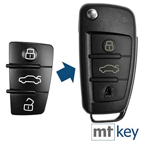 Auto Schlüssel Tasten Set 2X Tastenfeld 3 Tasten kompatibel mit Audi Klappschlüssel A1 8X A3 8P 8V A4 B7 A6 C6 TT 8J Q3 8U Q7 4L