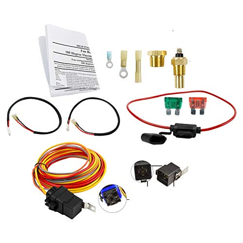 Dual Electric Cooling Fan Wiring Install Kit 185 Degree On 165 Off Engine Fan Thermostat Temperature Switch 40/50 AMP Relay Kit