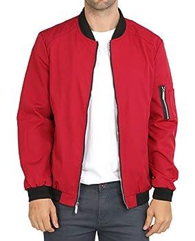 WULFUL Mens Casual Lightweight Jacket Softshell Flight Bomber Jacket Varsity Coat  Wine Red X-Large