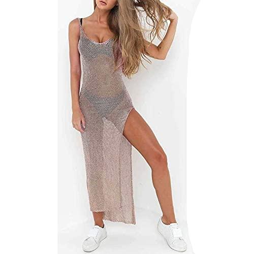 WANGIRL Damen Strandkleid Transparent Netz Strandponcho Stricken Bikini Cover Up Sommertop Beach Kleid Swimwear V-Ausschnitt Mesh Blusenkleid...