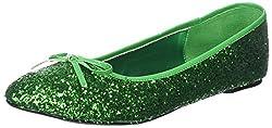 Green Glitter Star-16G Flat Shoes