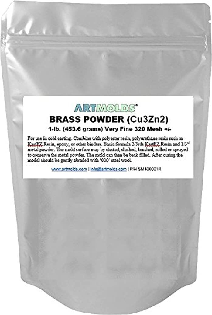 Brass Powder 1-lb (454 Grams) 320 Mesh +/- for Cold Casting and Inlay Work