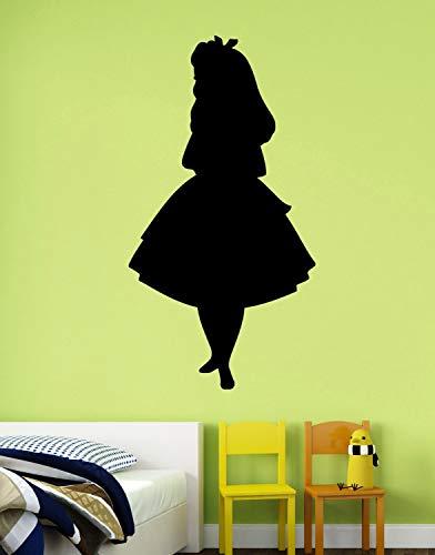 Alice Silhouette Wandtattoo Alice im Wunderland, Vinyl-Aufkleber, Disney-Kunst, Dekorationen für Zuhause, Schlafzimmer, 55,9 x 101,6 cm