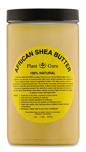 Raw African Shea Butter 32 oz Jar Bulk Unrefined Grade A 100% Pure Natural Yellow/Gold From Ghana DIY Crafts, Body, Lotion, Cream, lip Balm, Soap Making, Eczema, Psoriasis And Aid Stretch Marks