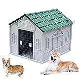 Caseta Perros Exterior Plastico, Caseta para Perros Exterior con Puerta, Casa Perro Mediano, Casa Perro Grande, Casa Perro Pequeño, con Tejado Puntiagudo, Casa de M(Size:S (1-30kg animal),Color:Verde)