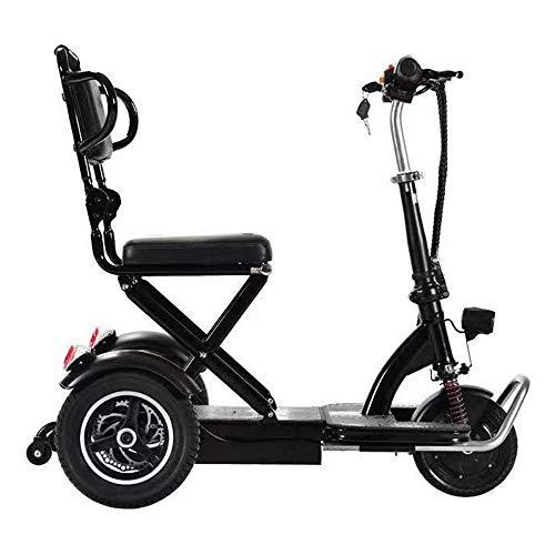 YDBET Folding Elektro-Dreirad, tragbare Mini Folding Scooters Elektro-Dreirad Erwachsene 3-Speed mit Lithium-Batterie Stahlrahmen Nacht LED für Alten alte Männer,Schwarz