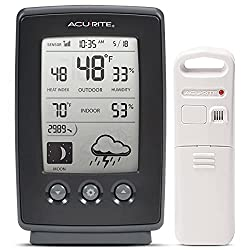cheap Forecast / Temperature / Clock / Digital Meteorological Station with Moon Phase AcuRite00829, Black