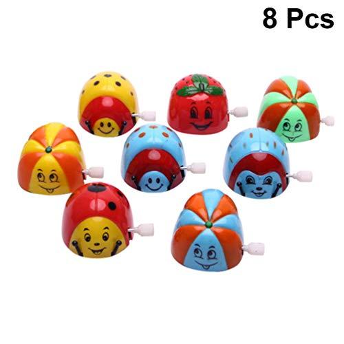 Amosfun 8 Stücke Uhrwerk Spielzeug Cartoon Kleine Käfer Wind up Spielzeug Kette Kippen Spielzeug für Kinder Kinder Geschenk (Zufällige Muster)