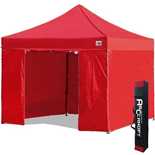 ABCCANOPY Pavillon 3x3m WASSERDICHT Flatpavillon Partyzelt Gartenzelt Festzelt mit 4 Seitenteilen+Handtasche,Rot