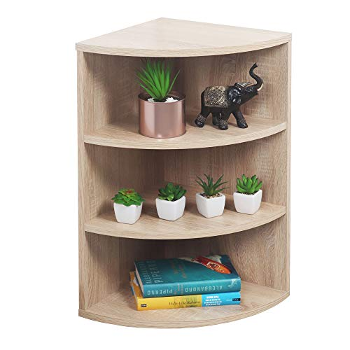 RICOO Standing Shelf (WM053-ES) 60 x 33 x 33 cm Wooden Shelf Sonoma Oak Brown Corner Shelf Bookcase Organiser Bookcase Plant Shelf Living Room Corner