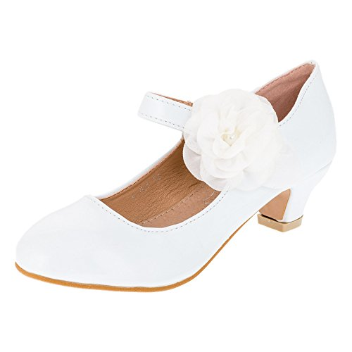 Cherine Festliche Mädchen Lackoptik Ballerina Pumps mit Echt Leder Innensohle M374ws Weiß 33