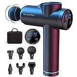 Pistolet de massage Bcamelys Portable LED Tactile Pistolet de Massage Electrique Relaxation avec 6 têtes de massage Appareil de vibration et 30 vitesses musculaires pour le cou, les épaules, le dos