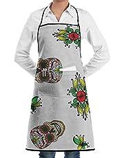 Lawenp Delantal de Patrones sin Fisuras Colorido Calavera de azúcar Mexicana Cocina Delantales de Chef para Hombres Mujeres hogar Restaurante artesanía