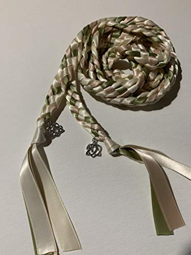 Ivory, Sage, and Blush Handfasting Cord Ceremony Braid- Celtic Heart Knot - 6 ft- Wedding- Handfasting Cord- Braided Together