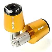 モーターサイクルハンドルグリップエンドハンドルバーエンドカバーキャップスズキバーグマン用、650,400,125,200,250、AN650、AN400、AN125、AN200、アクセサリー (Color : Gold)