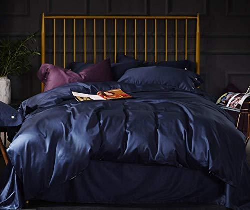 LITHAPP 60 Tribute Coton Satin à Longues Fibres 4 PièCes Coton 1,8M Lit Double Couleur Unie Housse De Couette Textile De Maison,Blue-1.8mbed