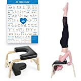 MaxKare Yoga Headstand Bench Head Stand Wood Inversion Chair Stool Handstand with PVC Pads for Workout, Home Gym Unisex- Relieve Fatigue and Tone Muscle (Black)