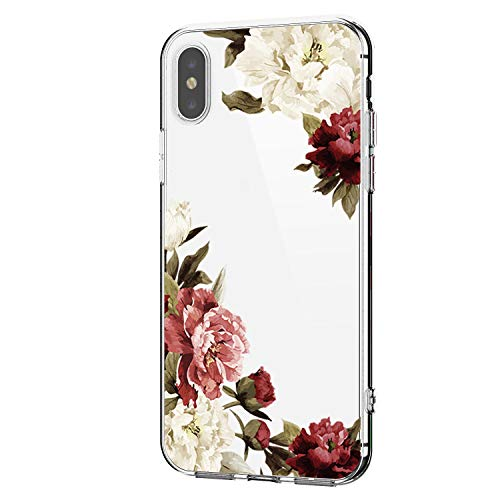 Riyeri Hülle Compatible with Apple iPhone Xs Max Hülle Cover iPhone Xs Handyhülle iPhone X Schutzhülle Transparent Weich TPU Silikon Case für Apple iPhone Xr Cell Phone - Blume