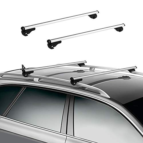 120cm Barra de techo para coches, Baca portaequipajes para coche, Barra de techo de coche, Portaequipajes de techo para automóvil, Baca universal de aleación de aluminio, Carga máxima 150kg