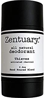 Zentuary Aluminum-Free Natural Deodorant (Thieves w/Activated Charcoal) Works All Day! | 100% Natural | Alcohol Free, Cruelty Free & Aluminum Free Deodorant | for Women, Men & Kids