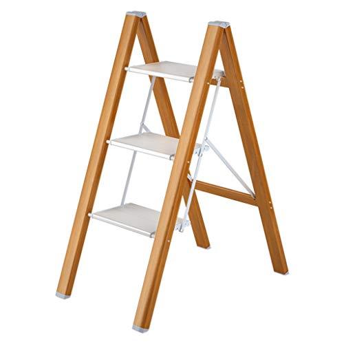QFF 3 pasos metal Escalera, aleación de aluminio de la estantería de baño impermeable marco de la escalera plegable Reposapiés cubierta plegable Escalera doblez (Size : 45.5 * 64 * 82CM)