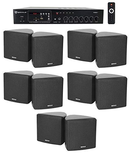 Rockville Commercial Restaurant Bluetooth Amplifier+10) 3.5' Black Cube Speakers