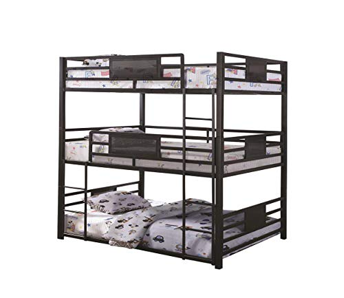 Coaster Home Furnishings Rogen Full Triple Bunk Bed, Dark Bronze