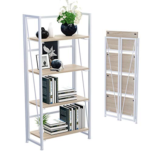 GHQME No-Assembly Folding Bookshelf Storage Shelves 4 Tiers Vintage Multifunctional Plant Flower Stand Storage Rack Shelves Bookcase for Home Office (White)