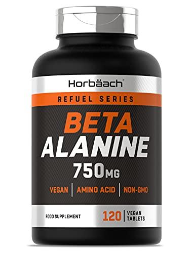 Beta Alanine 750mg   120 Vegan Tablets   Premium Amino Acid Supplement for Men & Women   Non-GMO, Gluten Free