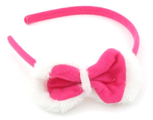 Hot Pink Fluffy Bow Alice Band Hair Accessories by Zest by Zest