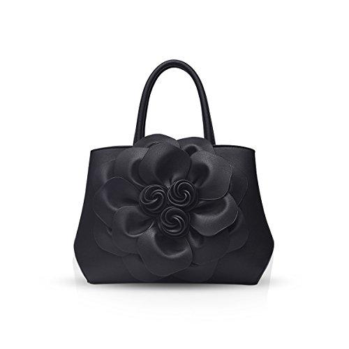 NICOLE & DORIS Borsa donna alla moda a fiori Borsa a mano Borsa a tracolla elegante borsa messenger Borse Tote in PU Pelle Nero