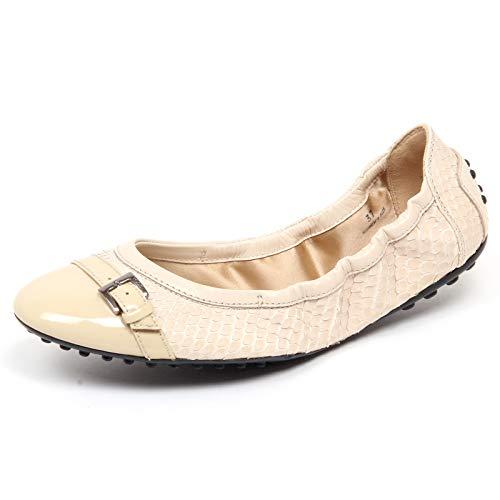 F3892 Ballerina Donna beige Tod'S Scarpe effetto Squame Scales Effect Shoe Woman [37]