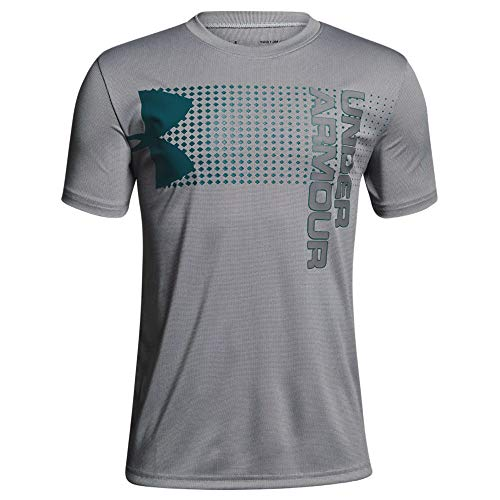 Under Armour Boys Crossfade Tee, White/Teal/Graphite, YXS
