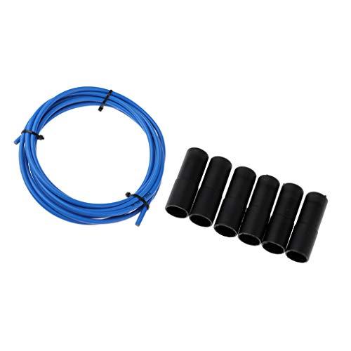 Hellery 300cm Cable de Freno de Bicicleta Carcasa Blanda Cubierta de Tubo Manga Y Extremos Tapa Cubierta Antipolvo - Azul